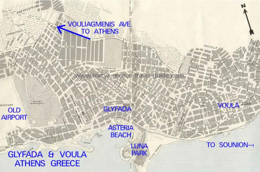 map athens greece glyfada voula suburbs