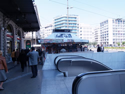 Omonia Squares escalators ejaculate one   on to the pavement