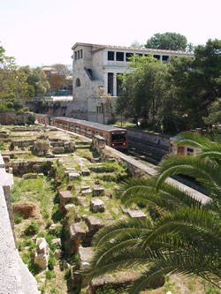 the train runs past the   agora and hadrian st extention