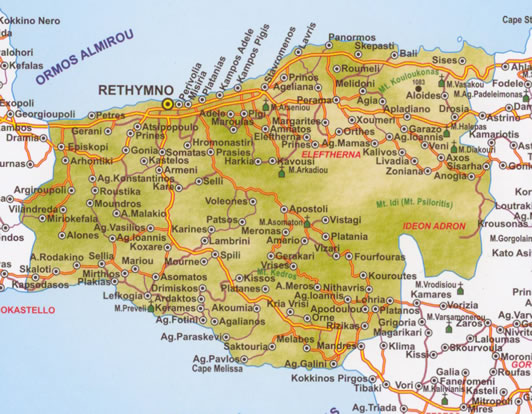 map pof rethymno prefecture